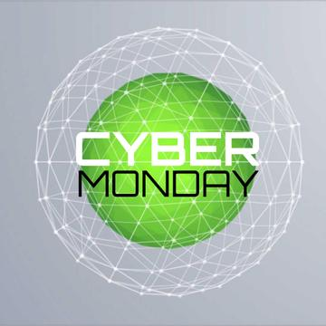 Cyber Monday with Digital sphere with network