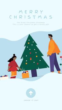 Christmas Greeting People Decorating Tree