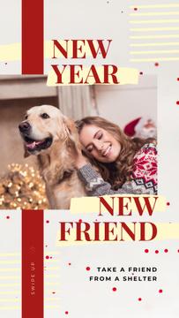 Woman and dog celebrating Christmas