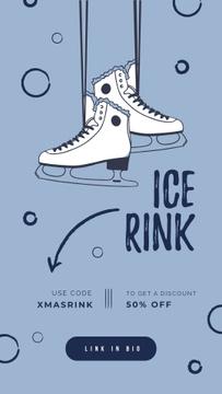 Ice skates hanging on wall