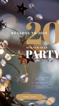 New Year Party Invitation with Shiny Christmas decorations