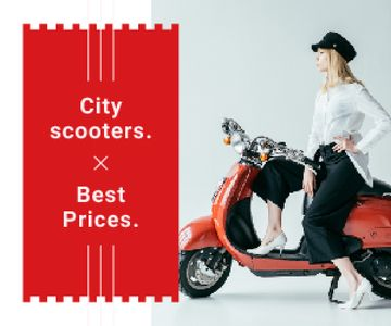 Stylish Girl on Retro Scooter