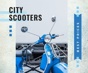 Blue Retro Scooter in Blue