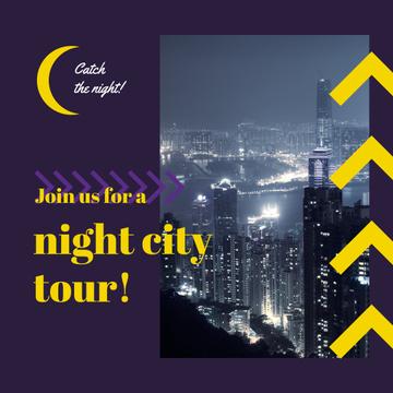 Night City Tour Invitation Traffic Lights
