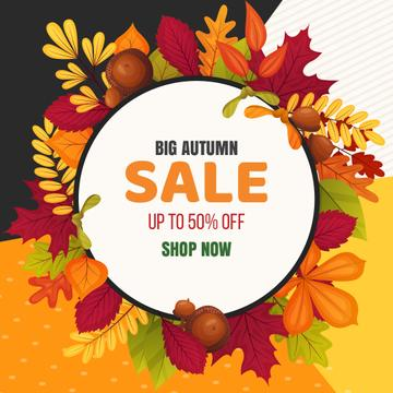 Sale Offer in Autumn leaves frame