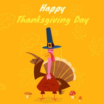 Thanksgiving with Turkey in Pilgrim hat