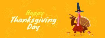 Turkey in Pilgrim hat on Thanksgiving Day