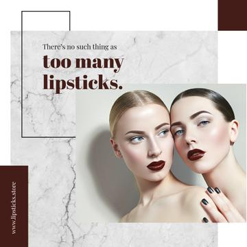 Lipstick Quote Young Women with Fashionable Makeup