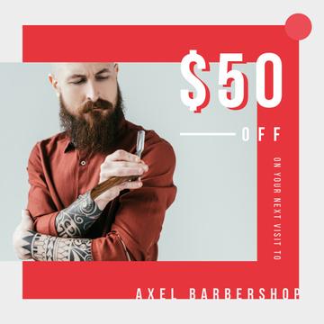 Barbershop Offer Bearded Barber holding razor