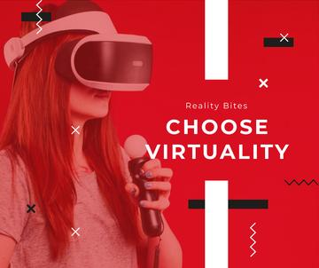 Woman using vr glasses in red