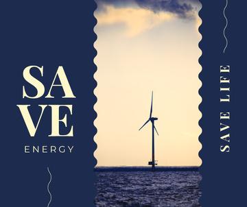 Wind turbines farm in sea