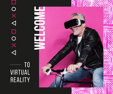 Man using vr glasses on bicycle