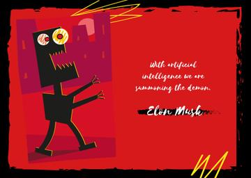 Scary robot walking in city and Quote
