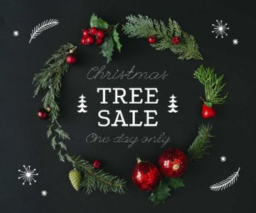 Christmas Tree Sale Decorated Wreath
