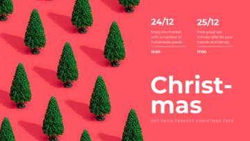 Christmas Market invitation on Green trees