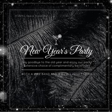 New Year Party with Black feathers and falling confetti