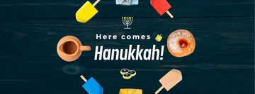 Happy Hanukah attributes in circle