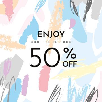 Sale announcement on Colorful paint blots