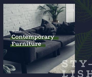 Cozy modern interior in grey