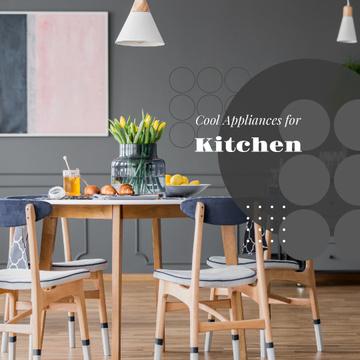Stylish kitchen interior on Grey