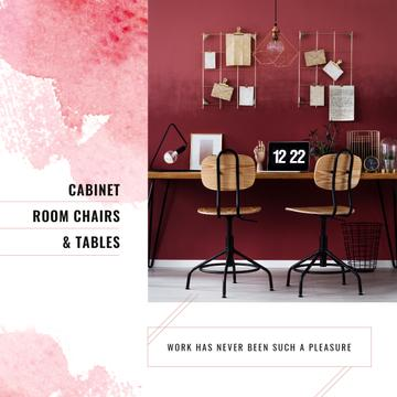 Furniture Store Ad Working Table with Laptop