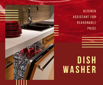 Dishwasher Offer Clean Dishware in Red
