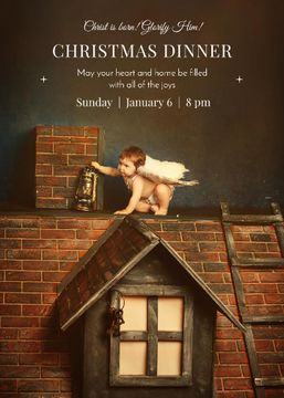 Christmas Dinner Invitation Little Child Angel