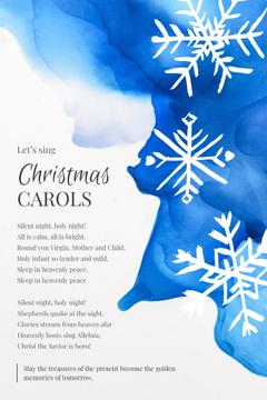 Christmas Carol with White Snowflakes on Blue
