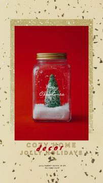 Christmas Greeting with Tree in Jar