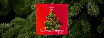 Christmas Greeting with Decorated Tree on Red