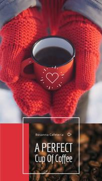 Cafe Offer Hands in Gloves with Red Cup of Coffee