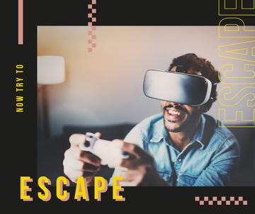 Man playing in vr glasses