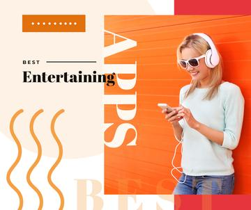 Woman Listening Music on Smartphone