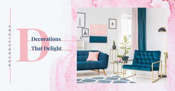 Cozy interior in blue colors