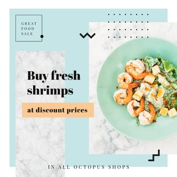 Fresh salad with shrimps for Food Sale