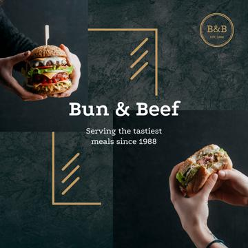 Restaurant Ad with hands holding Burger