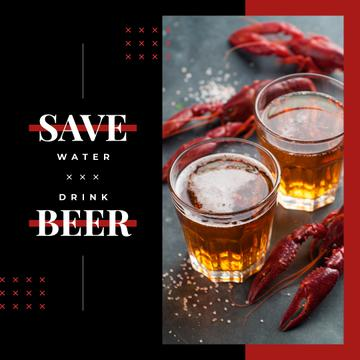 Glasses with beer and crayfish