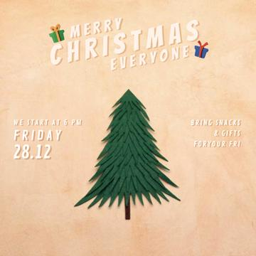 Christmas Invitation with Gifts under Tree