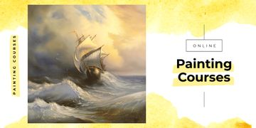 Painting with ship in sea waves