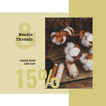 Cotton plant and Thread bobbins offer