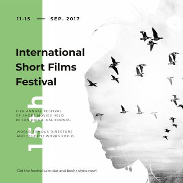 Film Festival invitation Woman and flying Birds