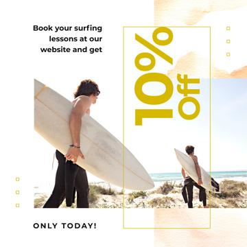 Surfing Lessons Offer Men with Boards at the Beach