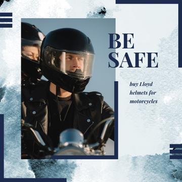 Safety Helmets Promotion with Couple riding motorcycle