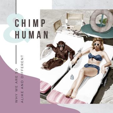 Woman and chimpanzee sunbathing