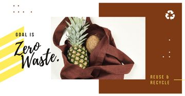 Zero Waste Concept Pineapple and Coconut in Textile Bag