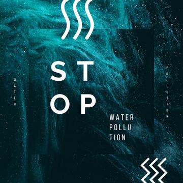 Water Pollution Concept Dark Paint Blots