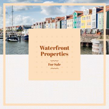 Real Estate Ad with Houses at sea coastline