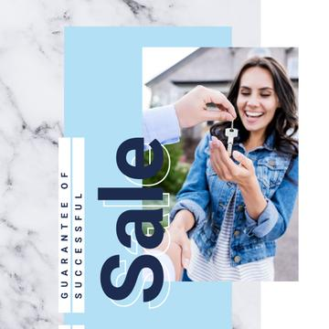 Woman receiving keys from agent