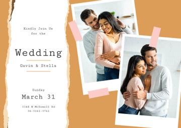 Wedding Invitation Happy Embracing Newlyweds