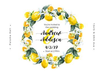 Wedding Invitation Wreath with Lemons